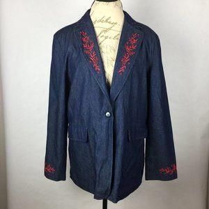 Anne Carson Jacket Blazer Embroidered Size XL
